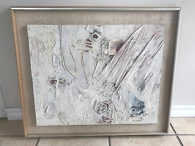 Vintage Collage Mixed Media Painting  Signed Kunstadt