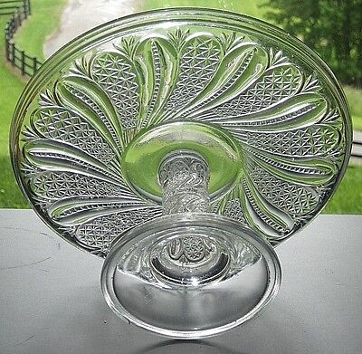 Antique 1896 EAPG McKee Bros Pattern Glass FEATHER Doric Swirl Cake Stand Plate