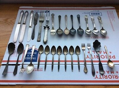 Vtg 29 Pcs Silver Plate Silverware Lot Forks Spoons Souvenir Craft Patina