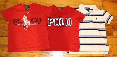 Lot of 3 Polo Ralph Lauren T-Shirts Shirt Red White Blue Striped Boys 2T/3T