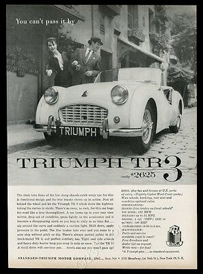 1958 Triumph TR3 TR-3 car photo You Can't Pass It By vintage print ad
