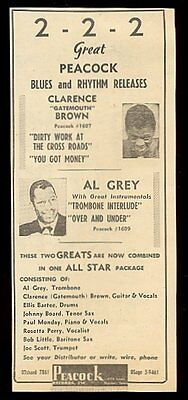 1951 Clarence Gatemouth Brown Al Grey photo Peacock Records ad