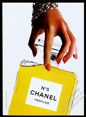 1984 Chanel No.5 perfume classic big bottle color photo vintage print ad