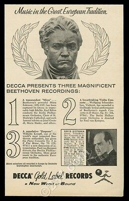 1955 David Oistrakh photo Beethoven bust pic Decca Records vintage print ad