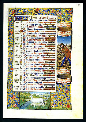 Illuminated Manuscript Facsimile Page From The Book Of Hours Of Charles Viii #1