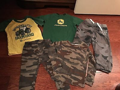 Lot Of 5 John Deere And Camo Boys Clothes Size 18-24 Months