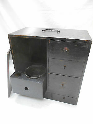Antique Kiri Wood Smokers Box Japanese Drawers with Copper Bowl 1880s #634