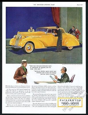 1935 Packard 120 convertible coupe yellow car art vintage print ad