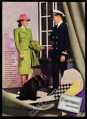 1944 Kerry Blue Terrier color photo Forstmann wool dress vintage print ad