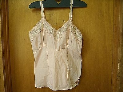 Vintage Pink embroidered lace Camisole Lingerie Top SZ 36 (P9)