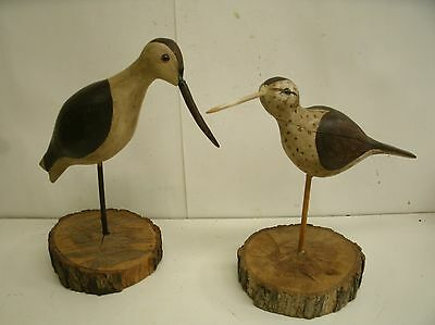 "2 Vintage Hand Painted Wood Sandpiper Bird Figurine Folk Art ~ 10"" & 11.5"" Tall"