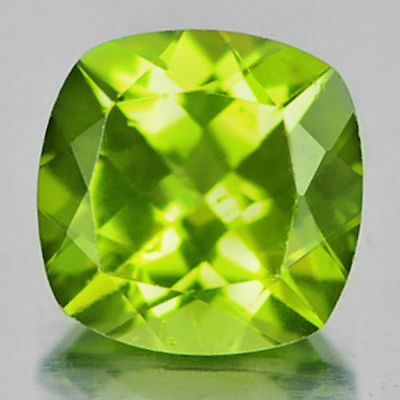 1.63 ct. VS !  Toller unbeh. 7 x 7 mm Pakistan Cushion Peridot