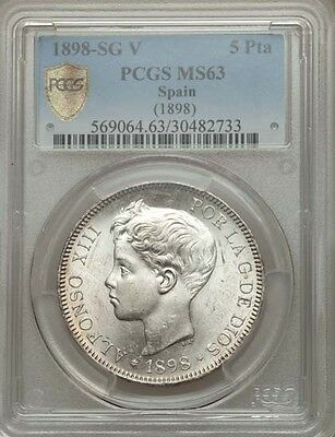 Spain Alfonso Xiii 1898 5 Pesetas Silver Coin Uncirculated Pcgs Certified Ms63