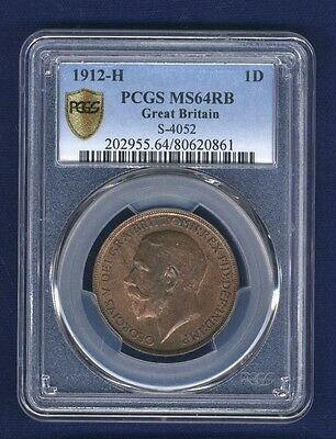 Great Britain George V 1912-H Penny, Choice Uncirculated, Certified Pcgs Ms64-Rb