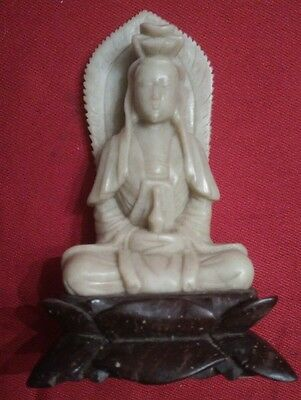 """Antique Hand Carved Soapstone Buddha 4"""" free  shipping"""