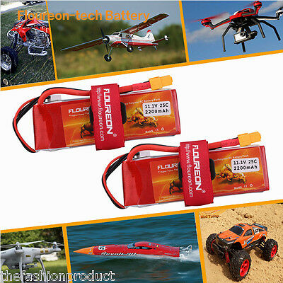 2Pcs 3S 11.1V 2200mAh 25C LiPo Battery Pack XT60 for RC Car Helicopter Airplane