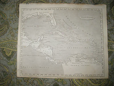 Fine Antique 1805 West Indies Copperplate Map Texas Florida Cuba Bahamas Jamaica
