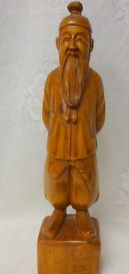 Antique Beautiful Antique Chinese Carved Wood Statue Figurine Chinese Man
