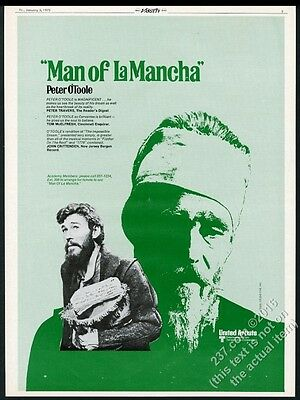 1973 Peter O'Toole photo Man of LaMancha movie trade print ad