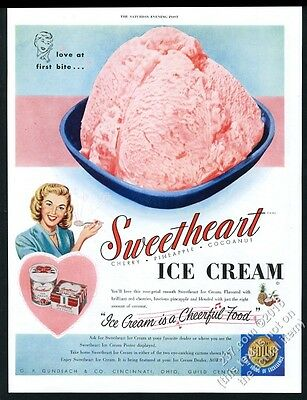 1950 Sweetheart Ice Cream color photo vintage print ad