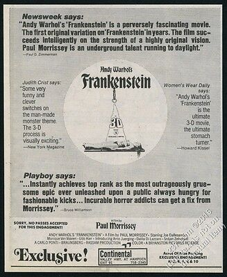 1974 Andy Warhol's Frankenstein movie release vintage print ad