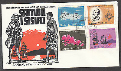Samoa Bicentenary Visit Of Bougainville, Four Stamp Lot Fdc Jan 17, 1968. Un-Add