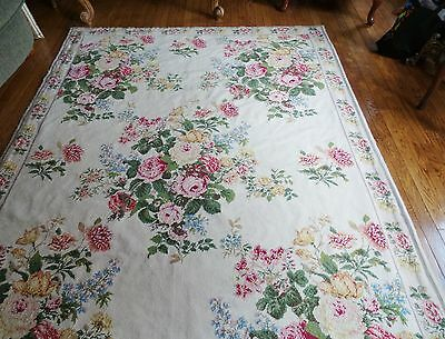 """FRENCH COUNTRY FLORAL WITH ROSES DESIGN NEEDLEPOINT RUG HANDMADE  5'.5""""x8'.6"""""""