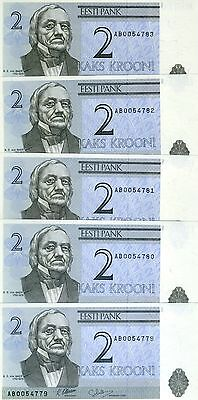 LOT Estonia, 5 x 2 Krooni, 1992, Pick 70,  Ex-USSR, UNC > Pre-Euro