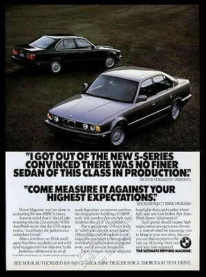 1989 BMW 535i E34 black and silver cars photo vintage print ad