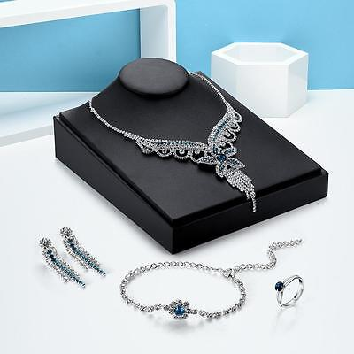 New Silver Crystal Drop Wedding Necklace Earrings Jewelry Set Bridesmaid Gift PS