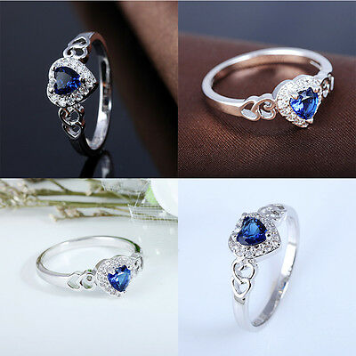 Blue Topaz Gemstones Heart Cut Promise Infinity Rose Gold Silver Ring