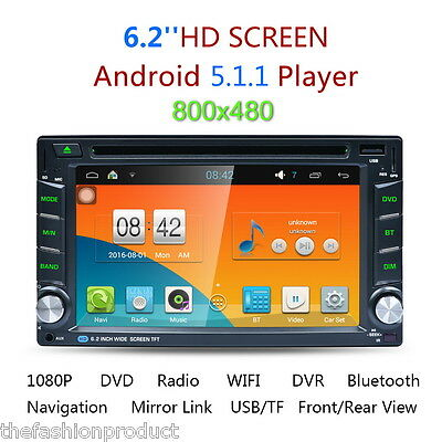 """6.2"""" 2 DIN Android 5.1.1 GPS Auto HD DVD Stereo WIFI 3G Bluetooth Radio Player"""