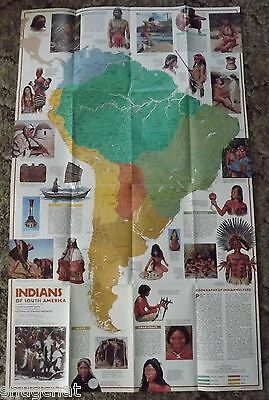 National Geographic Map Mar 1982 2-Sided Natives & Architecture of S. America