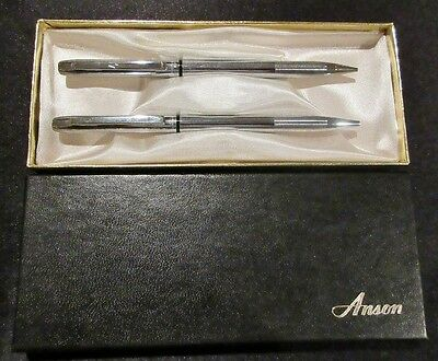 Vintage ANSON Hardened Steel Pen & Pencil Set Made in the USA No Reserve NR