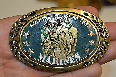 Vintage 1980s Bulldog USMC Nothing Can Stop The Marines Brass Belt Buckle