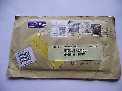 "Irish Postal History. 2016 Cover To Us ""attempted Delivery-Return To Sender"""