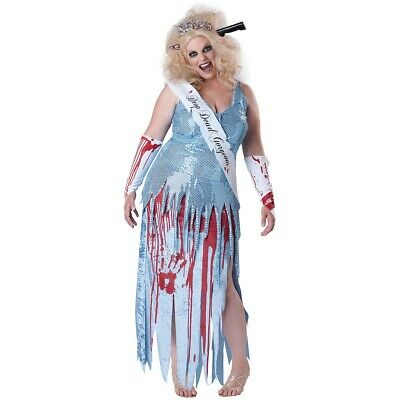 DROP DEAD GORGEOUS Costume Adult Funny Zombie Prom Queen Beauty ...