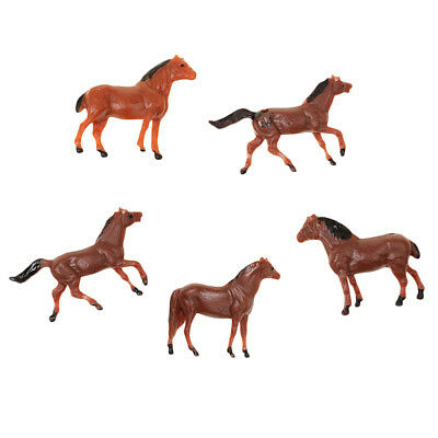 5 Pieces Plastic Scale Model Micro Scene Mold Painted Horse Garden Decor Toy