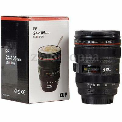 Camera Lens Cup 24-105mm Travel Coffee Tea Mug Cup Thermos & Leak-Proof Lid NEW