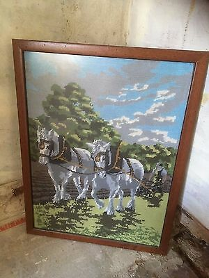 Heavy Horses & Plough Farming Tapestry Frame Picture Wall Hanging Vintage Scene