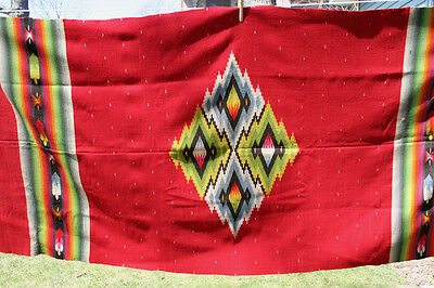 Antique Mexican Saltillo Serape Rug Blanket 1890-1920 Era