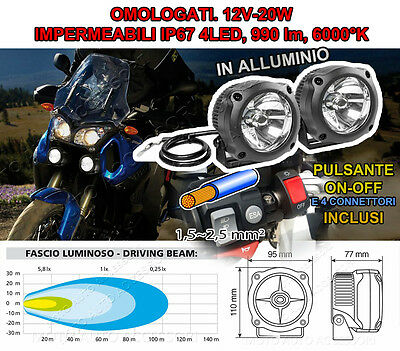 2 Fari Faretti Supplementari Omologati Full Kit Moto 4 Led 12V 20W Allum. 6000K