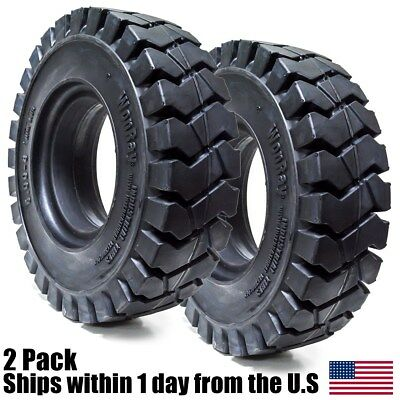"""2pk 5.00-8 Tires Advance Solid Solver Forklift 3.0"""" RW 5.00/8 Flat Proof 5008"""