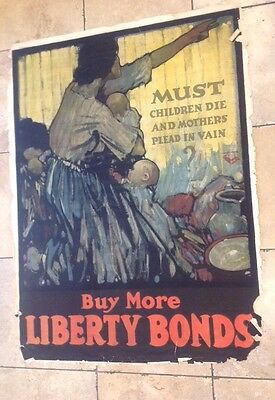 World War I Liberty Bond Poster Original Must the Children Die U.S.