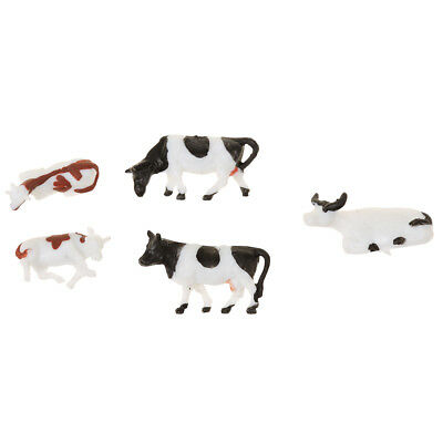 5 Pieces Plastic Scale Model Micro Scene Mold Painted Cow Garden Decor Toy