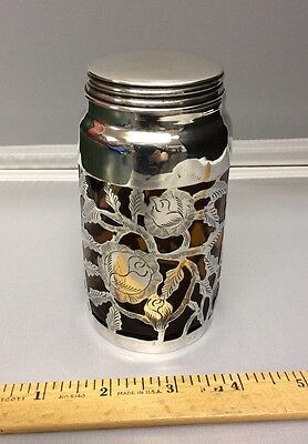 Antique Sterling Silver Overlay Amber Glass Jar Container w/ Lid Roses Flowers