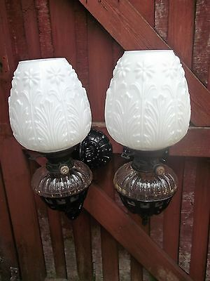 Vintage pair wall mounted oil lamps - Hinks burner No 2 - Glass shades