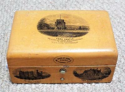 Ford Castle - Antique Mauchline Ware Wooden Treen Trinket Box c1870