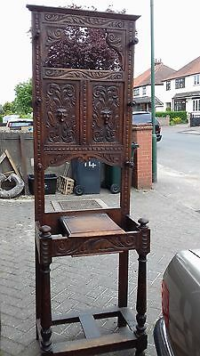 Green Man Carved Hall Stand/ Coat Hat Umbrella Stick Stand