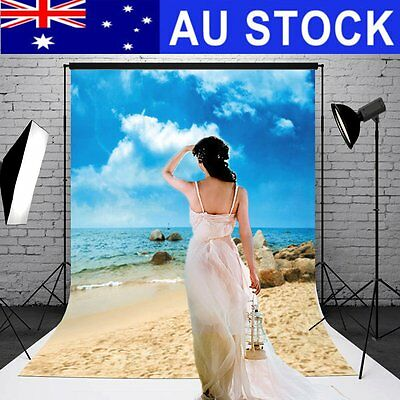 AU 5x7FT Blue Sky Beach Sea Photography Backdrop Studio Photo Background Props